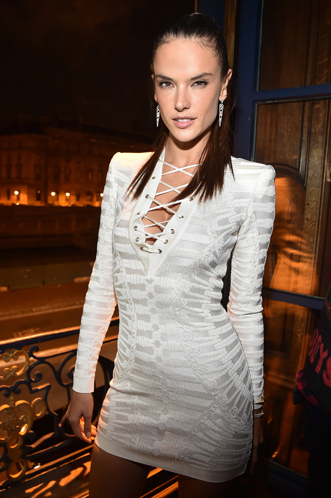 PARIS, FRANCE - OCTOBER 01: Alessandra Ambrosio attends Balmain aftershow Party as part of Paris Fashion Week Womenswear Spring/Summer 2016 at Laperouse on October 1, 2015 in Paris, France. (Photo by Jacopo Raule/Getty Images for Balmain)