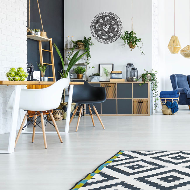 Black and white living room with table, chairs and plants